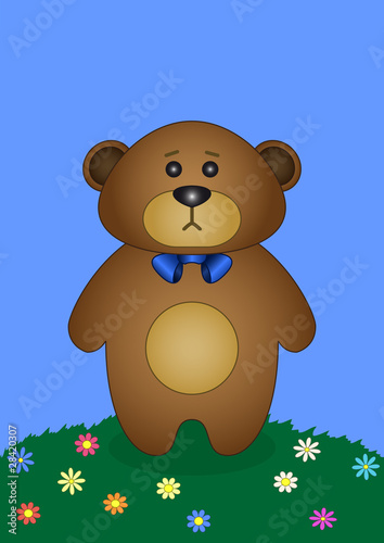 Wall Murals Bears Teddy bear on a flower meadow