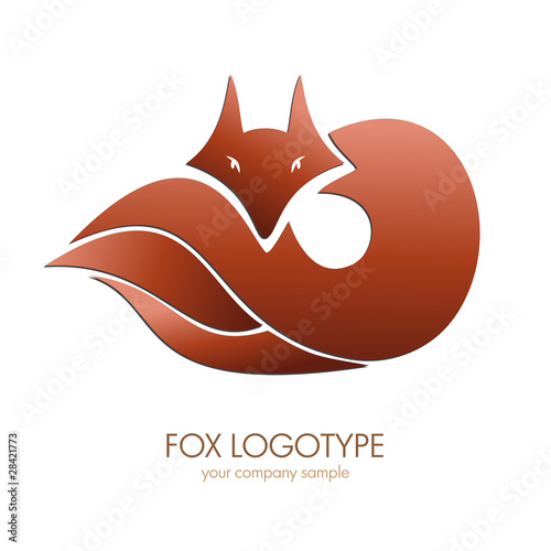 Photo Logo Fox. Voncept of cunning # Vector