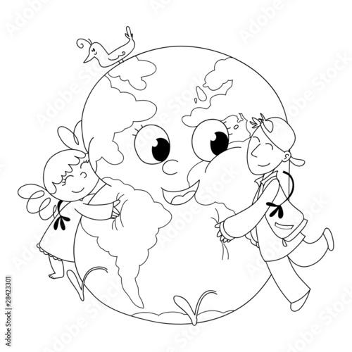 Szczęśliwe dzieci przytulające się do ziemi, do koloru