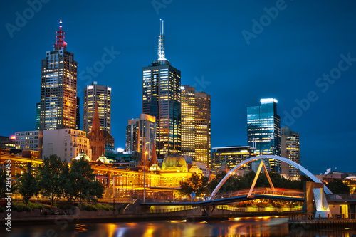 Foto-Flächenvorhang - Melbourne City and Yarra River from Southbank (von Paul Liu)