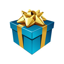 Blue Gift With Gold Bow