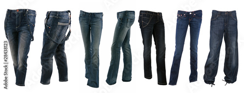 Collection of various types of blue jeans trousers Wallpaper Mural
