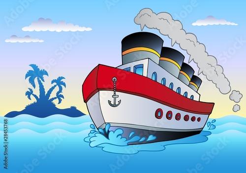 Fotografía Steamship sailing in sea