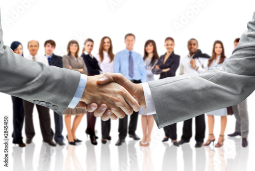 Fotografía  handshake isolated on business background