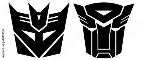 Photo  Transformers. Two signs- Autobot and Desepticon