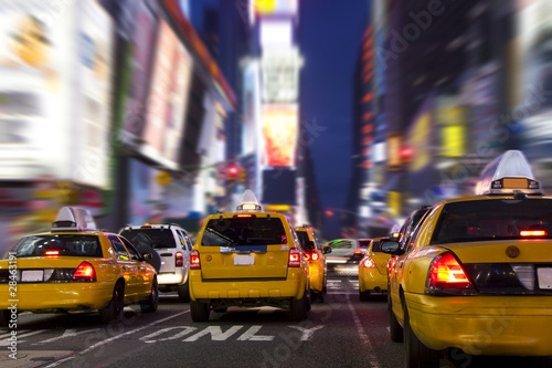 Plagát  Yellow Taxi in Time Square, New York City