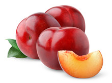 Isolated Plums. Three Red Plums With Leaves Isolated On White Background