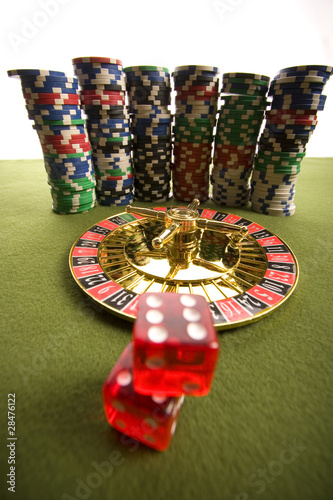 Roulette  and casino chips плакат