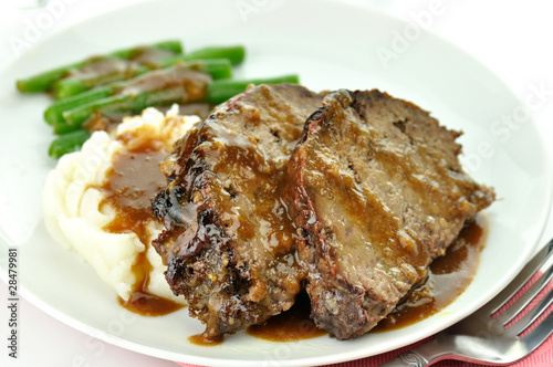meat loaf with mashed potatoes and green beans Canvas Print