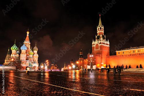 The Moscow Kremlin and Red Square at night. Poster