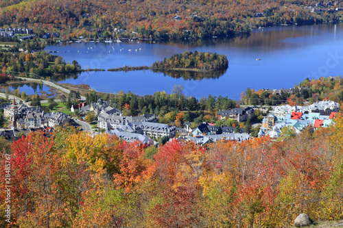 Poster Canada Mont Tremblant lake and village, Quebec, Canada
