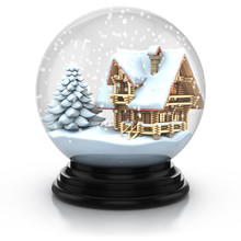 Glass Dome Winter Scene - Wooden House And Tree Cover With Snow