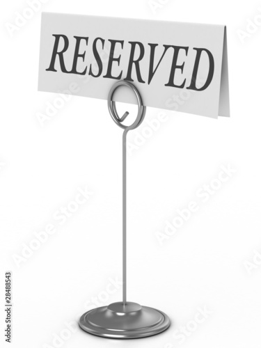 reserved sign isolated over white Fototapet