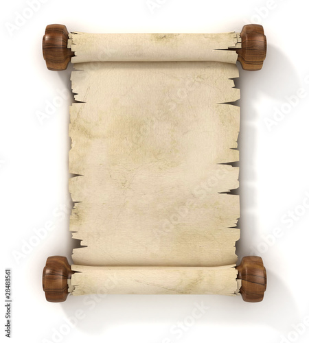 parchment scroll 3d illustration isolated on white background © koya979