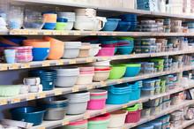 Plastic Dishes On Shop`s Shelves