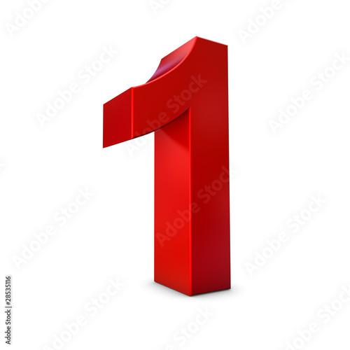 Chiffre 1 3d rouge