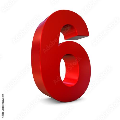 Photographie  Chiffre 6 3d rouge