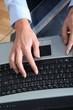Closeup on laptop computer keyboard