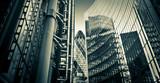 Fototapeta Londyn - Famous skysrcapers in the financial district of London