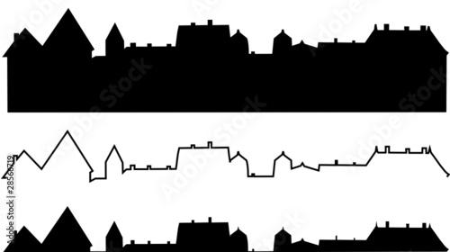 Photo silhouette immeubles ou toitures de ville