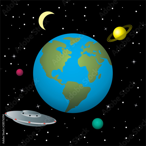 Garden Poster Cosmos vector illustration of ufo in space