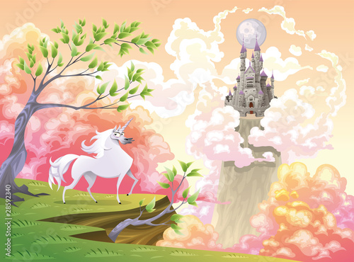 Garden Poster Castle Unicorn and mythological landscape. Vector illustration