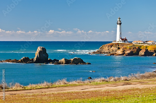 Tuinposter Vuurtoren Pigeon Point Lighthouse on California coast