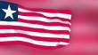 Liberia flag slowly waving. Blurred background. Seamless loop.