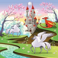 Pegaz, jednorog i zmaj u mitološkom krajoliku