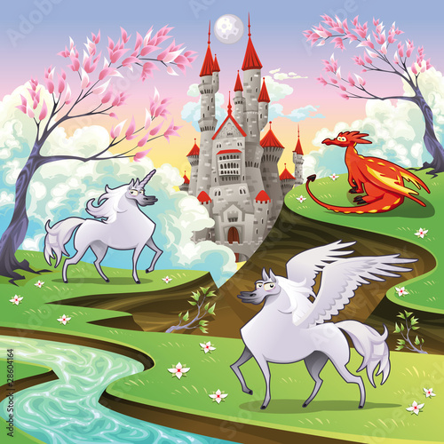Tuinposter Kasteel Pegasus, unicorn and dragon in a mythological landscape