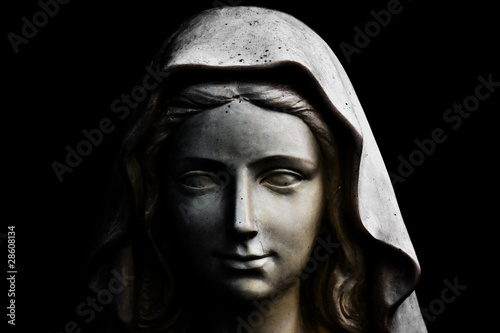 Fotografie, Obraz Holy Mary statue isolated on black