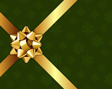 Christmas Vector Background With Gold Bow