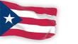 Puerto Rico flag slowly waving. White background.