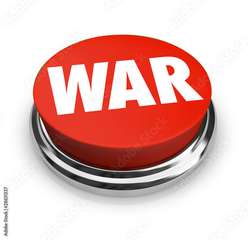 War - Word on Round Red Button Wallpaper Mural