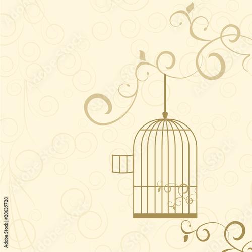 Poster de jardin Oiseaux en cage vector golden cage