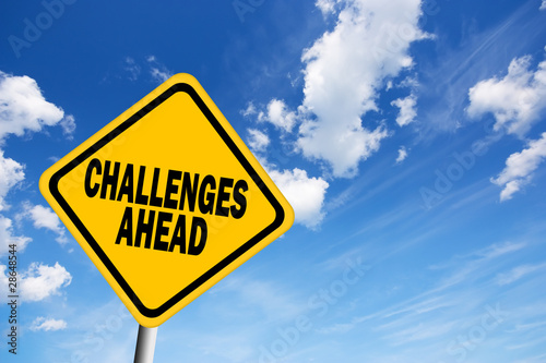 Fotografie, Obraz  Challenges ahead sign