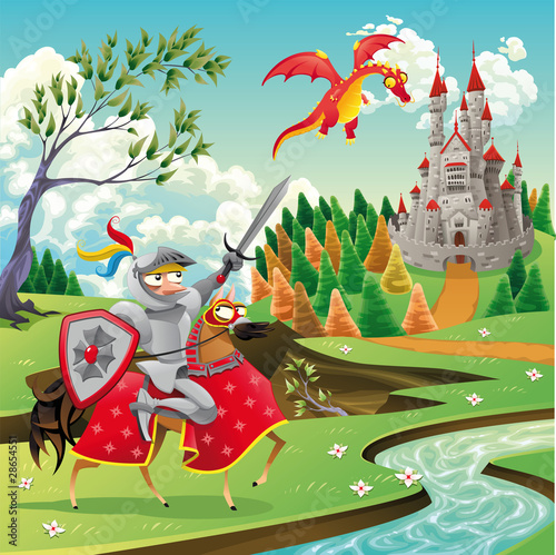 Poster de jardin Chevaliers Panorama with castle, dragon and knight. Vector illustration