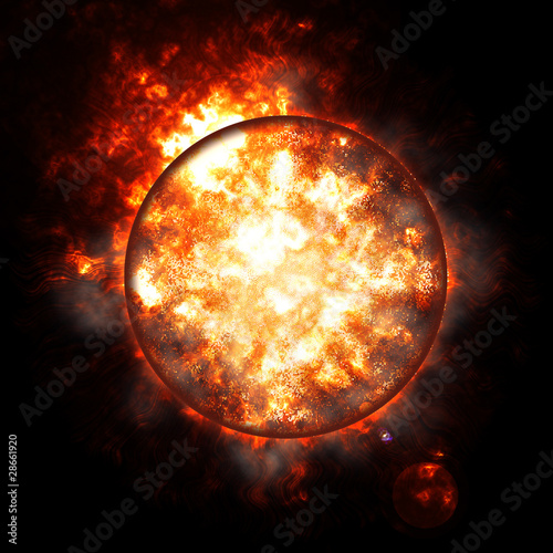 Illustration of an exploding planet earth Tablou Canvas