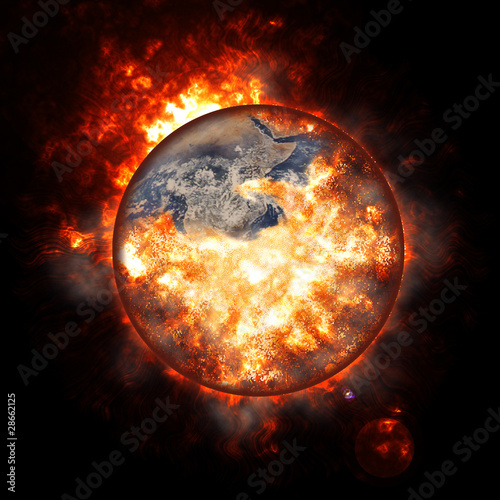 Fotografie, Obraz  Illustration of an exploding planet earth