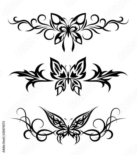 Obraz na płótnie Set tribal with butterflies, tattoo