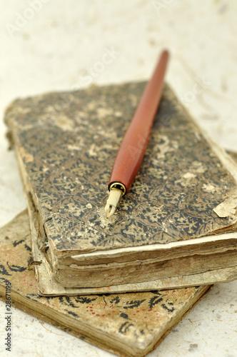 Foto op Canvas Jacht Fountain Pen on Old Books