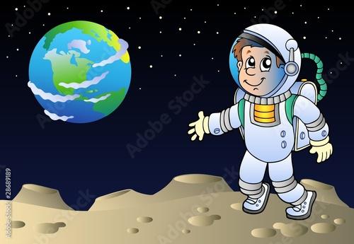 Foto-Stoff - Moonscape with cartoon astronaut (von Klara Viskova)