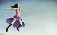 Painting Of A Flying Woman In A Flower Dress