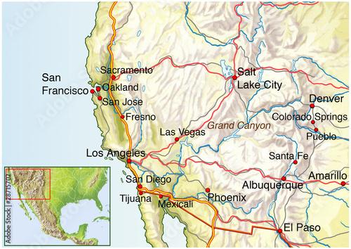 Landkarte Vom Suedwesten Amerikas Usa Buy This Stock