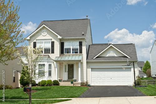 Fotografie, Obraz  Front View Single Family Small House Suburban Maryland USA