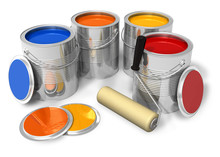 Cans With Color Paint And Roll...