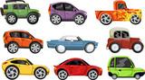 Set of nine colorful cartoon cars