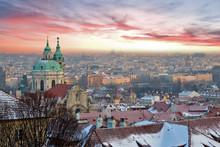 Prague Panorama With Beautiful Sunset