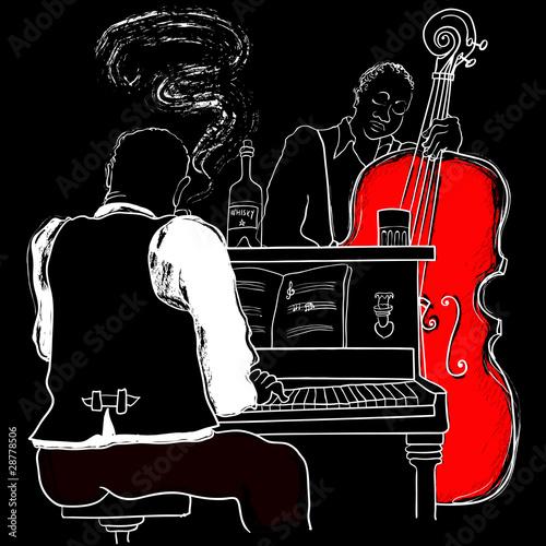 wektorowa-ilustracja-jazzowy-pianino-i-kontrabas