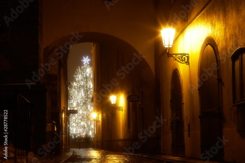 Fototapeta mysterious narrow alley with christmas tree obraz na płótnie